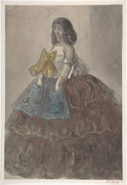 Woman in a Tiered Gown with a Large Bow