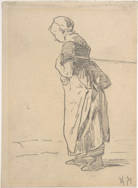 Woman pulling a tow rope. verso: sketch of landscape with figures
