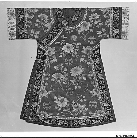 Woman's Robe with Peonies and Shou Medallions