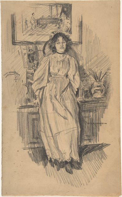 Young Woman Leaning against a Low Cabinet in Artist's Studio