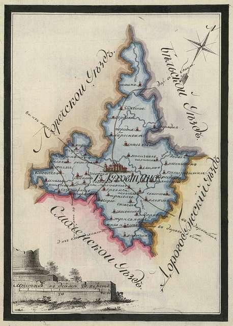 Dukhovshchina county map.