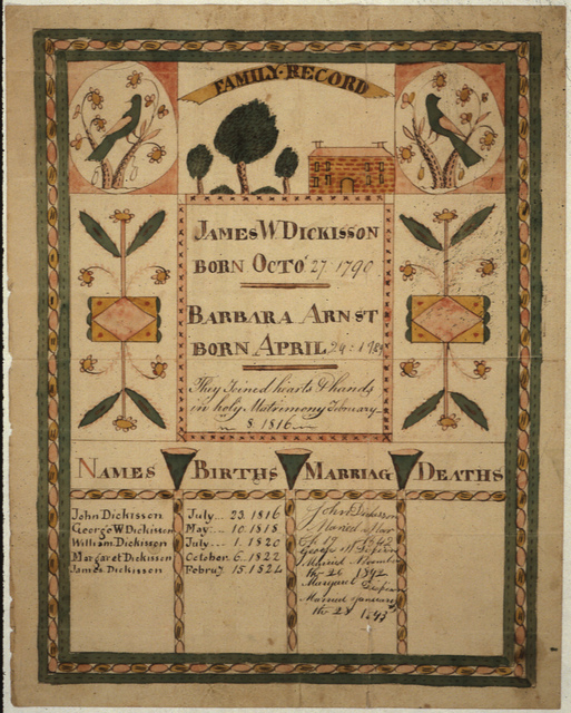 Fraktur of the Family of Isaac Dickisson