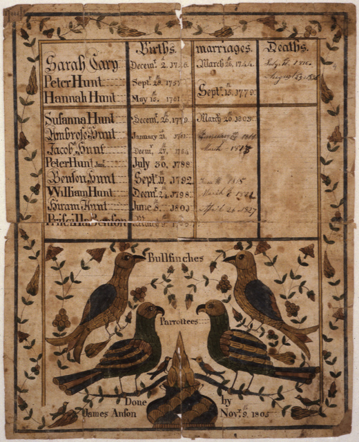 Fraktur of the Family of Peter Hunt