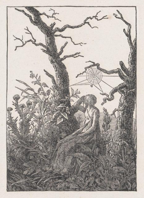 Seated Woman with a Spider's Web (Die Frau mit dem Spinnennnetz zwischen kahlen Baumen)