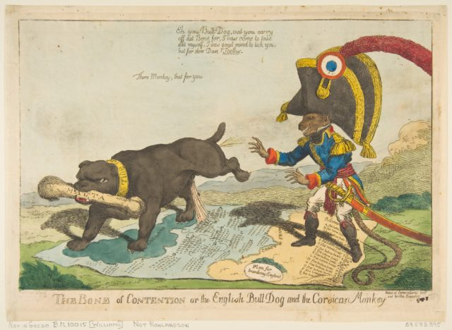The Bone of Contention or the English Bull Dog and the Corsican Monkey