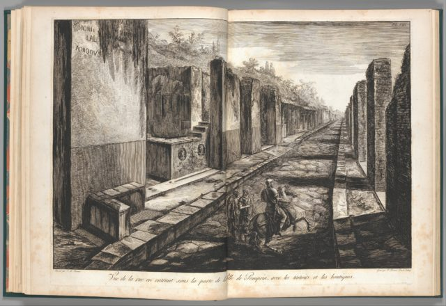 View from the street entering beneath the gateway to the city of Pompeii, with the foot paths and the shops, from Antiquités de Pompeïa, tome premier, Antiquités de la Grande Grèce... (Antiquities of Pompeii, volume one, Antiquities of Great Greece...), volume 1, plate 8