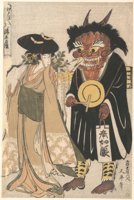 Young Woman with an Otsue Demon Dressed as an Itinerant Priest