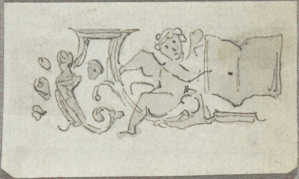 Sketch of a Putto Holding an Open Book - PICRYL Public