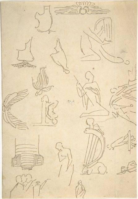 Sketches of Miscellaneous Egyptian Details and Figures (recto and verso)