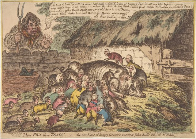 """More Pigs Than Teats"",–or–the New Litter of Hungry Grunters, Sucking John-Bull's-Old-Sow to Death"
