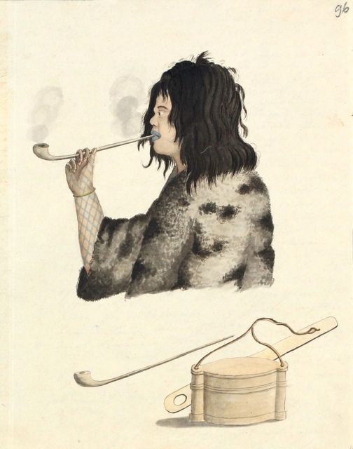 Suitsetav ainu mees / An Ainu man smoking