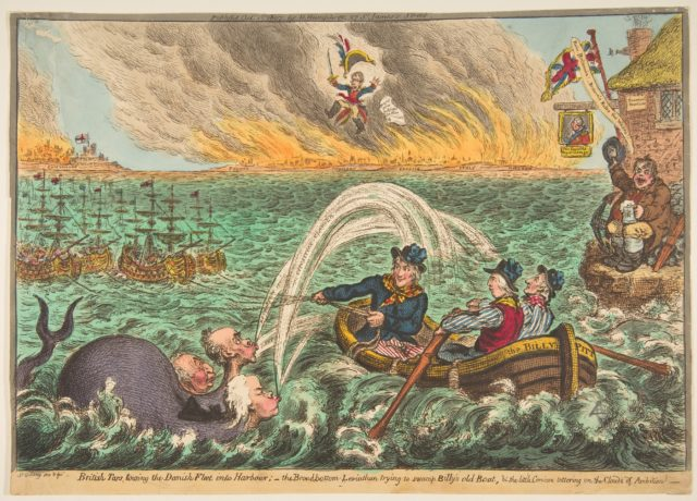 British Tars Towing the Danish Fleet into Harbour; the Broad-Bottom Leviathan trying Billy's Old Boat, and the Little Corsican tottering on the Clouds of Ambition