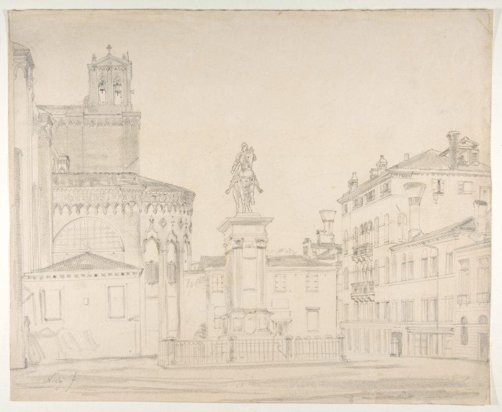 View of the South side of the church of Santi Giovanni e Paolo in Venice, with Verrocchio's statue of Bartolomeo Colleoni