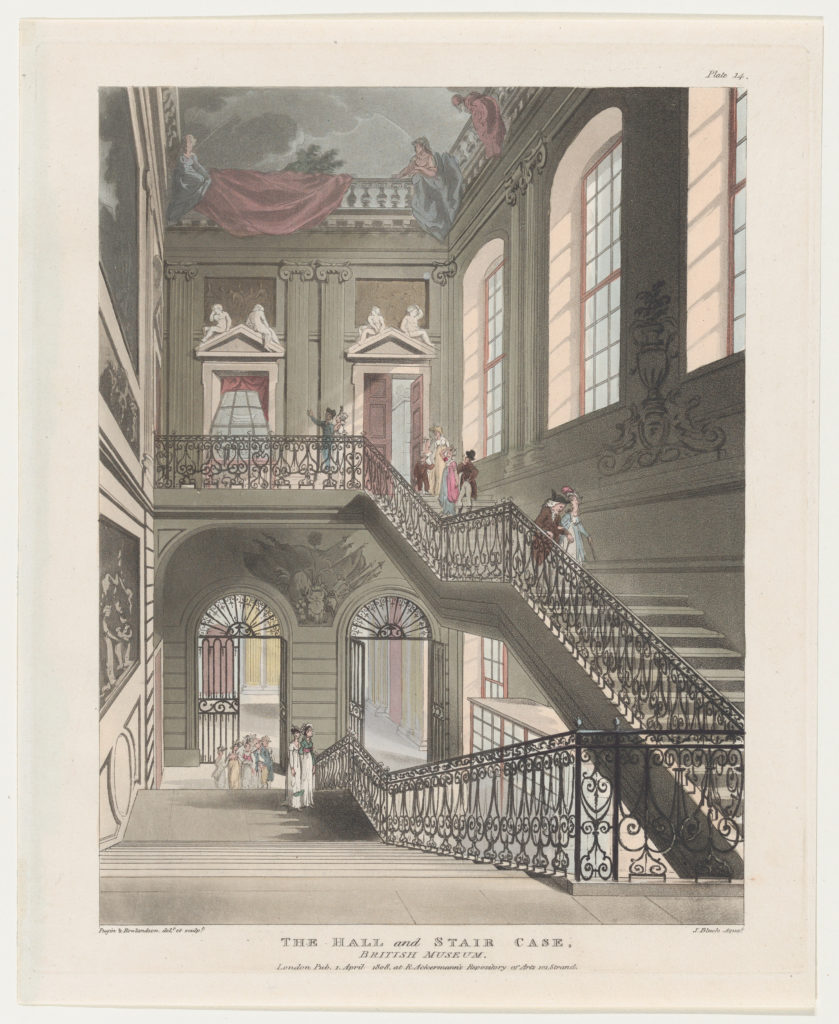 The Hall and Stair Case, British Museum (Microcosm of London, plate 14)