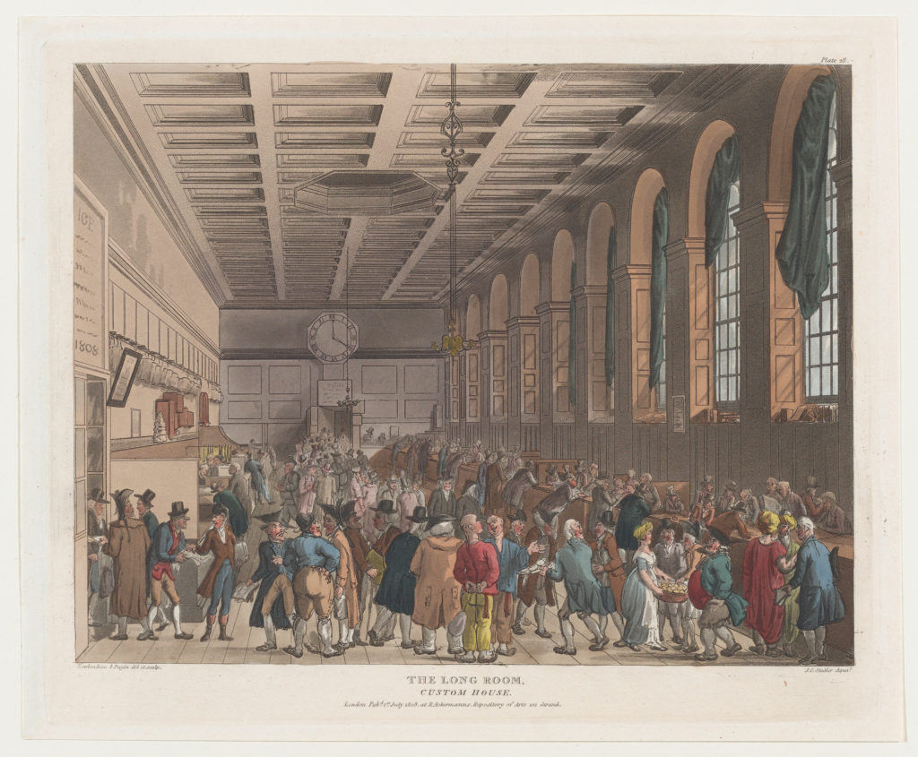The Long Room, Custom House (Microcosm of London, plate 28)