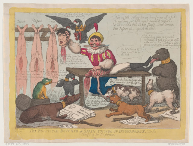 The Political Butcher, or Spain Cutting Up Buonaparte For The Benefit Of Her Neighbours