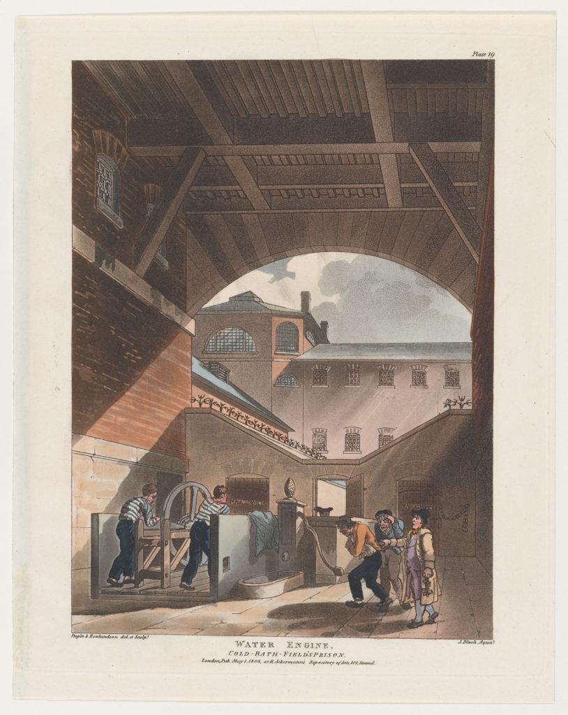 Water Engine, Cold-Bath Field's Prison (Microcosm of London, plate 19)