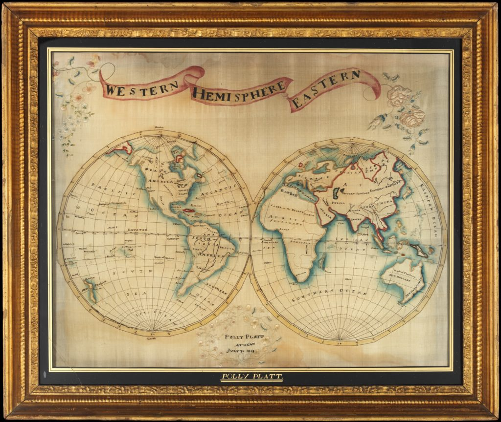 Map sampler made at Pleasent Valley Quaker Boarding School