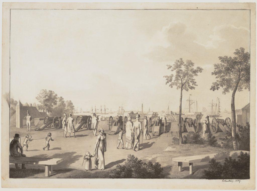 The Harbour of Copenhagen from the Esplanade between Langelinie and Toldboden; verso: Sketch of a Standing Man