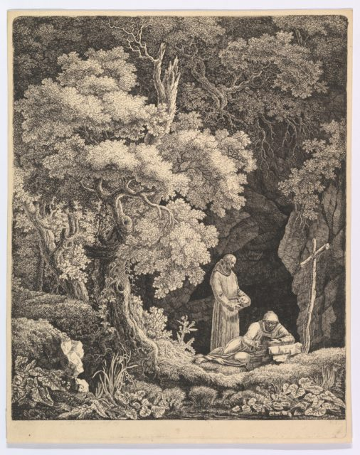 Two Monks in Contemplation in a Forest