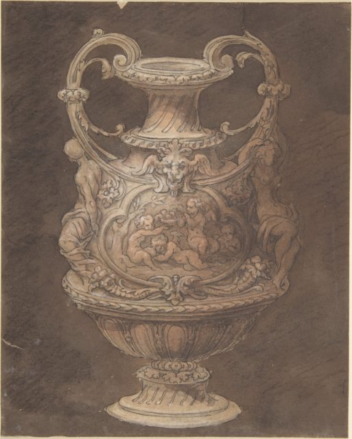 Design for an Urn with Four Putti in Central Cartouche