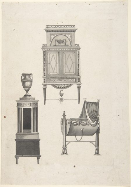 Design for furniture in a variation on the style of Thomas Sheraton, a desk or bookcase, a plate-warmer (?) pedestal, and a cradle