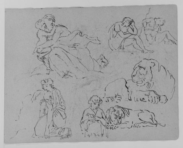 Five Figure Studies; Two Studies of Lions (from Sketchbook)