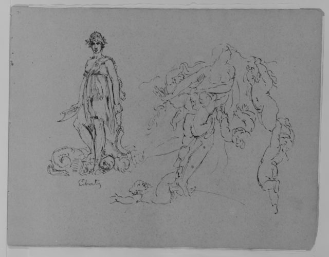 Liberty Figure; Fleeing Nude Female Figure with Putti (from Sketchbook)