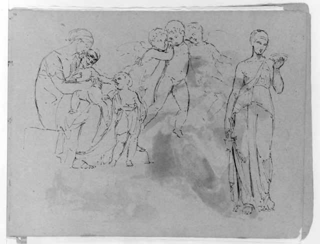 Madonna With Christ and John Baptist [?]; Three Cherubs; Standing Classical Female Figure, Holding Bowl (from Sketchbook)