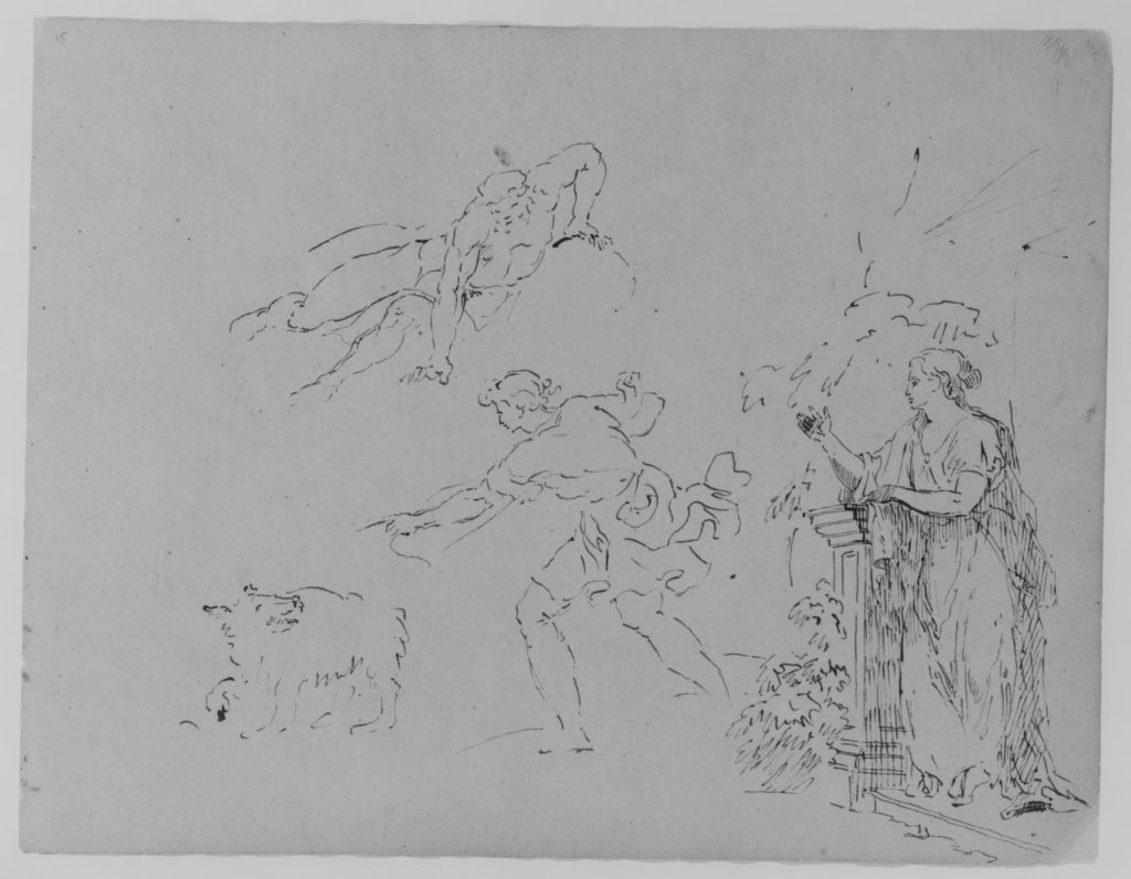 Male [Breaking Fall]; Male Gesturing Toward Dog; Female on Step Leaning Against Column by Foliage (from Sketchbook)