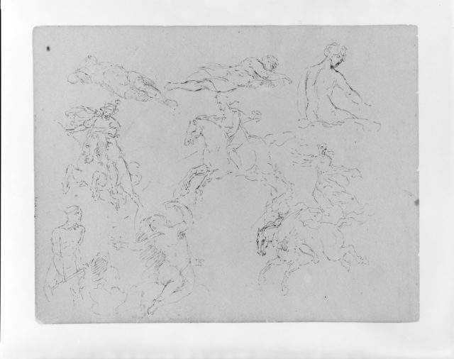 Nine Figure Sketches, Including Three Galloping Equestrains (from Sketchbook)