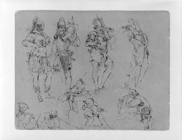 Nine Figures in Military Dress (from Sketchbook)