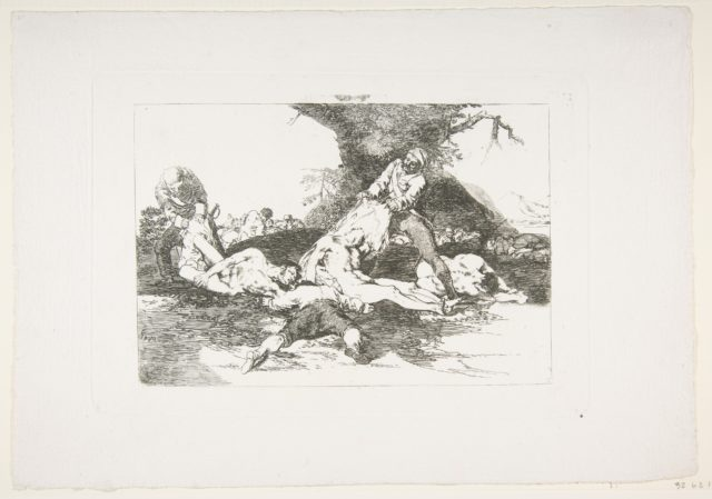 Plate 16 from 'The Disasters of War' (Los Desastres de la Guerra):' They make use of them.' (Se aprovechan.)