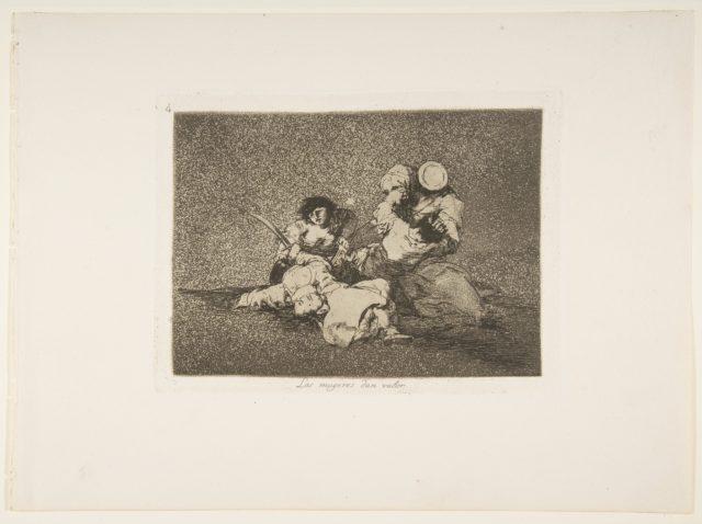 Plate 4 from 'The Disasters of War' (Los Desastres de la Guerra): 'The women give courage' (Las mugeres dan valor)
