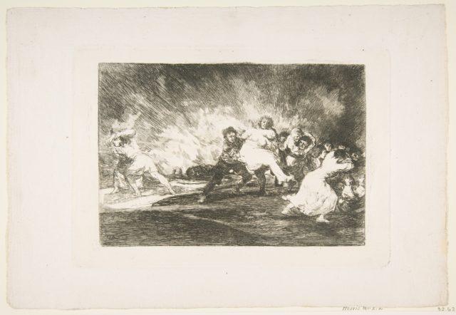 Plate 41 from 'The Disasters of War' (Los Desastres de La Guerra): 'They escape through the flames' (Escapan entre las llamas)