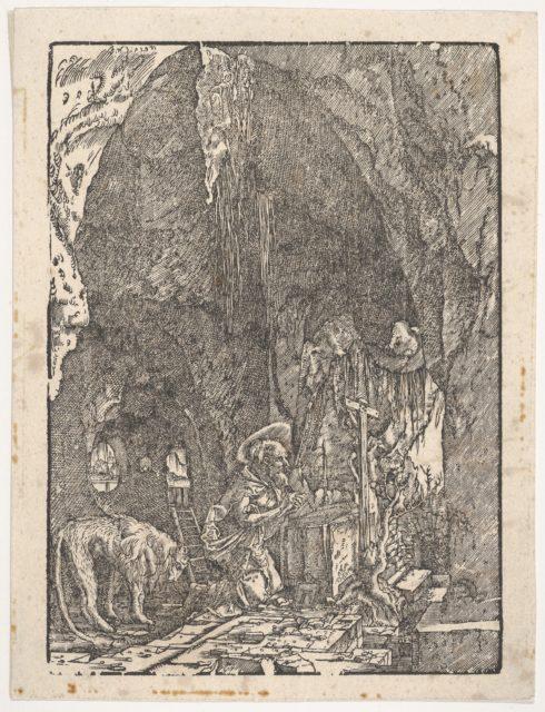 Saint Jerome in Penitence, in a Cave, from Holzschnitte alter deutscher Meister in den Original-Platten gesammelt von Hans Albrecht von Derschau