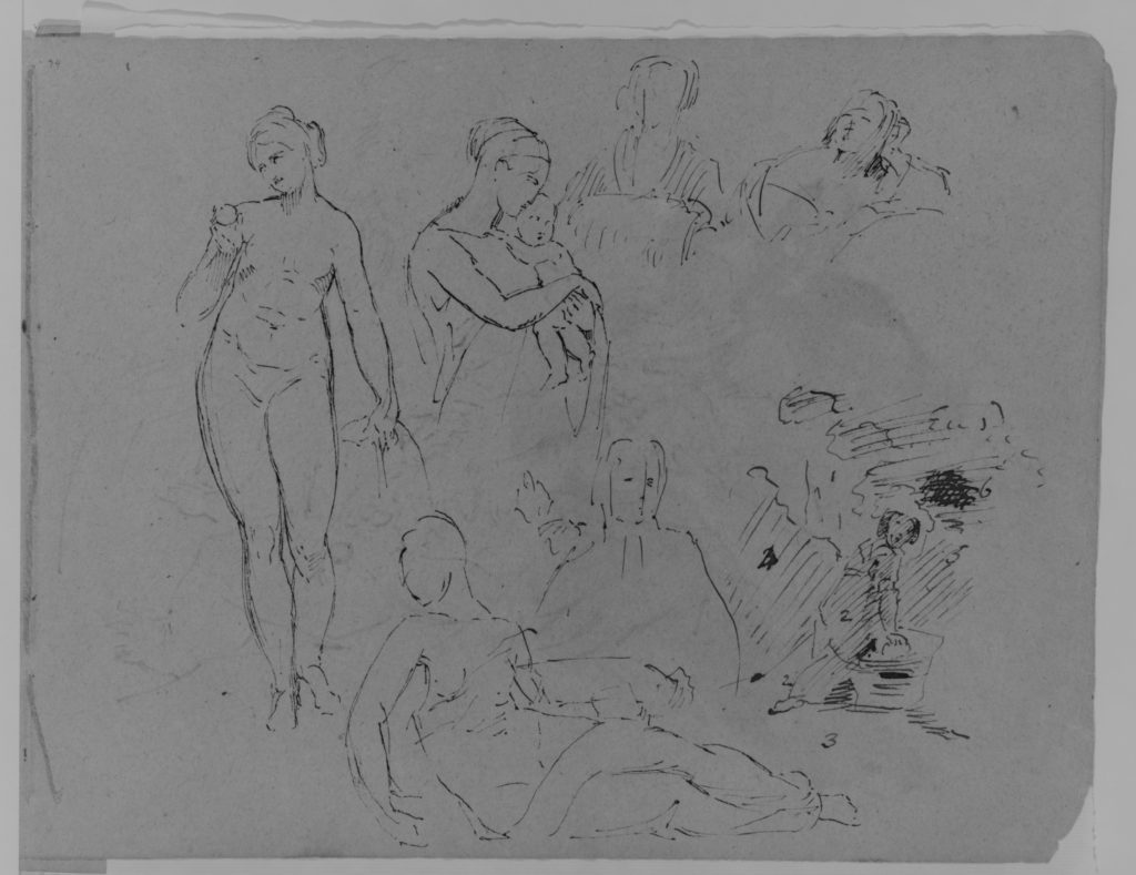Seven Figure Sketches: Standing Female Nude with Fruit; Madonna and Child (?); Two Female Busts; Recumbent Semi-nude Figure, etc. (from Sketchbook)