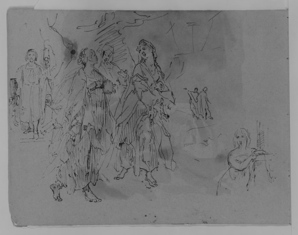 Seven Figures: Advancing Monarch, Three Promenading Women, Half-length Woman Leaning on a Mantelpiece (from Sketchbook)