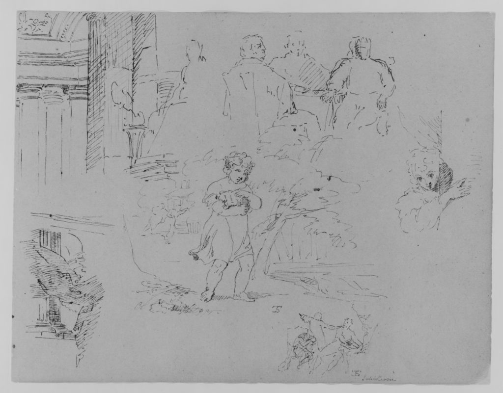 Two Architectural Sketches; Three Men Seated at Table; Child Holding Pet in Landscape; Figure Appearing Behind Corner; Scene from Julius Ceasar (from Sketchbook)