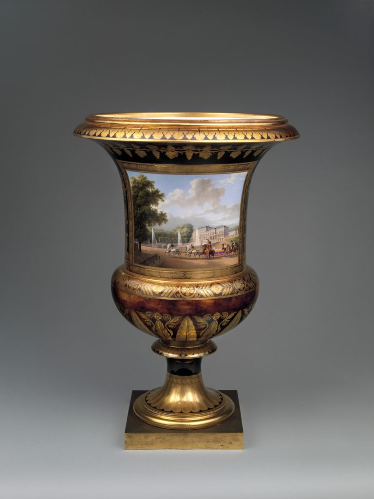 Medici vase with a scene of the château at Saint-Cloud (one of a pair)