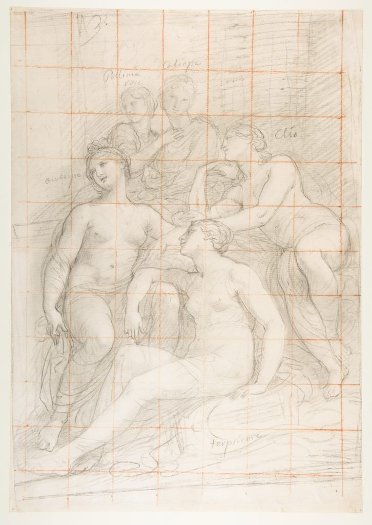 The Muses Euterpe, Polyhymnia, Calliope, Clio, and Terpsichore (recto); Sketch of a Sleeping Child (verso)