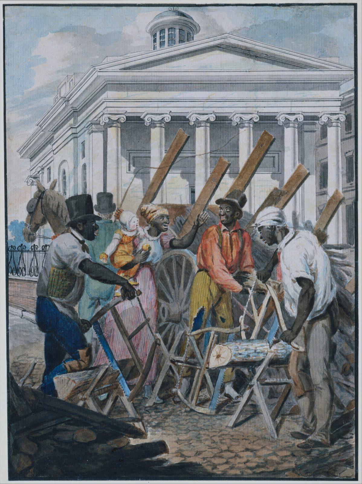 Black Sawyers Working in front of the Bank of Pennsylvania, Philadelphia