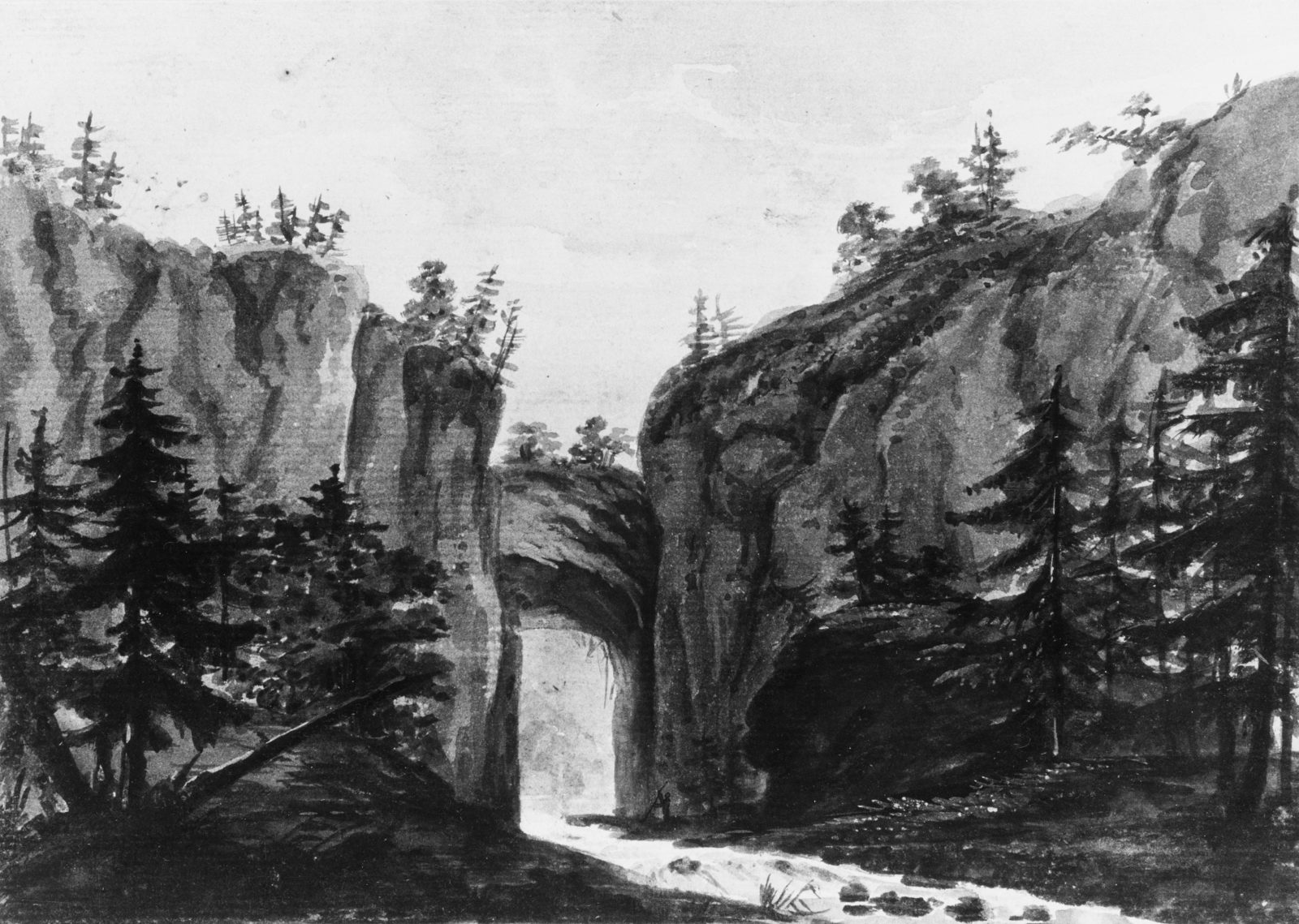 Natural Bridge, Virginia (Copy after an Engraving in François Jean, Marquis de Chastellux, Travels in North America, 1787)
