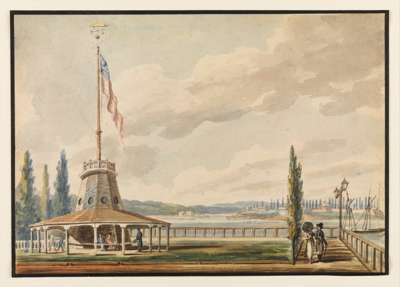 The Traveler's First View of New York—The Battery and Flagstaff