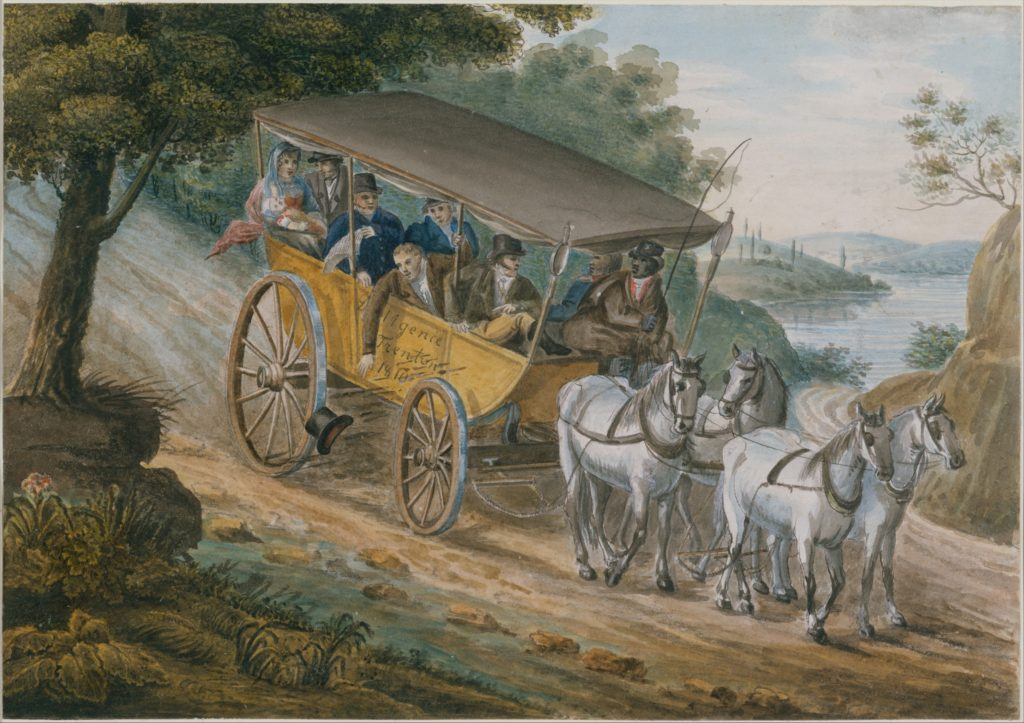 Travel by Stagecoach Near Trenton, New Jersey