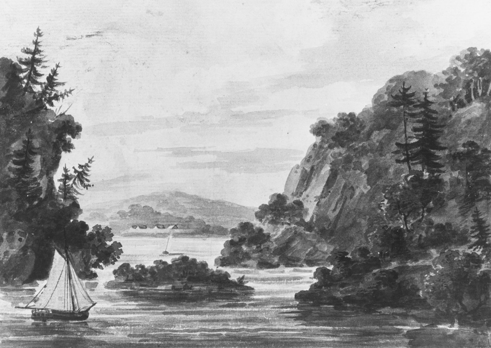View on the Hudson River (Copy after Engraving by Weld and S. Springsguth in Weld, Travels Through the States of North America, 1807)