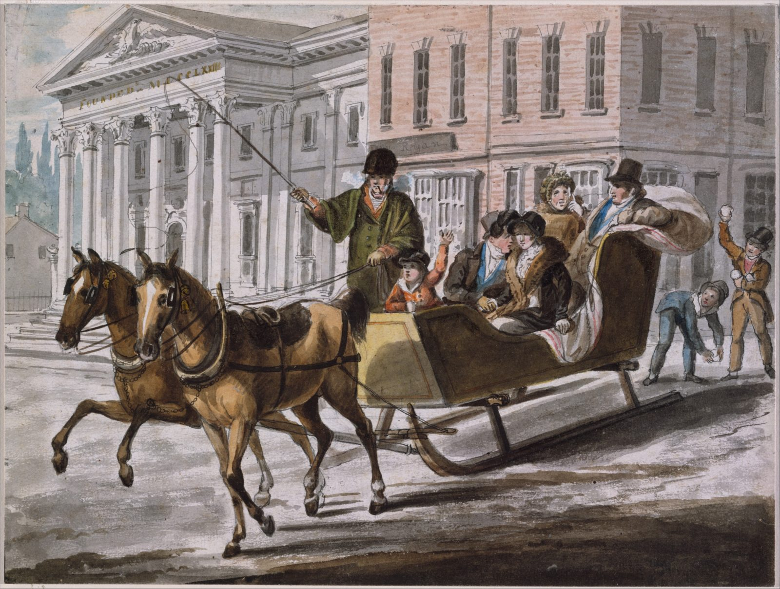 Winter Scene in Philadelphia—The Bank of the United States in the Background