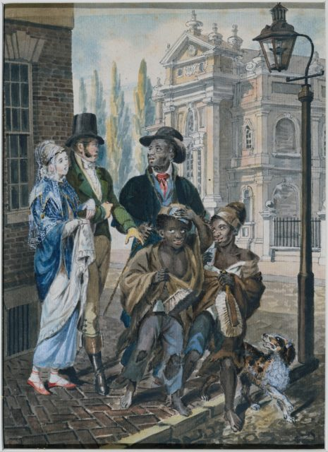 """Worldly Folk"" Questioning Chimney Sweeps and Their Master before Christ Church, Philadelphia"
