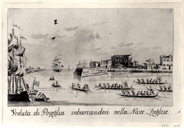 The Island of Povegila, with British Naval Officers Embarking