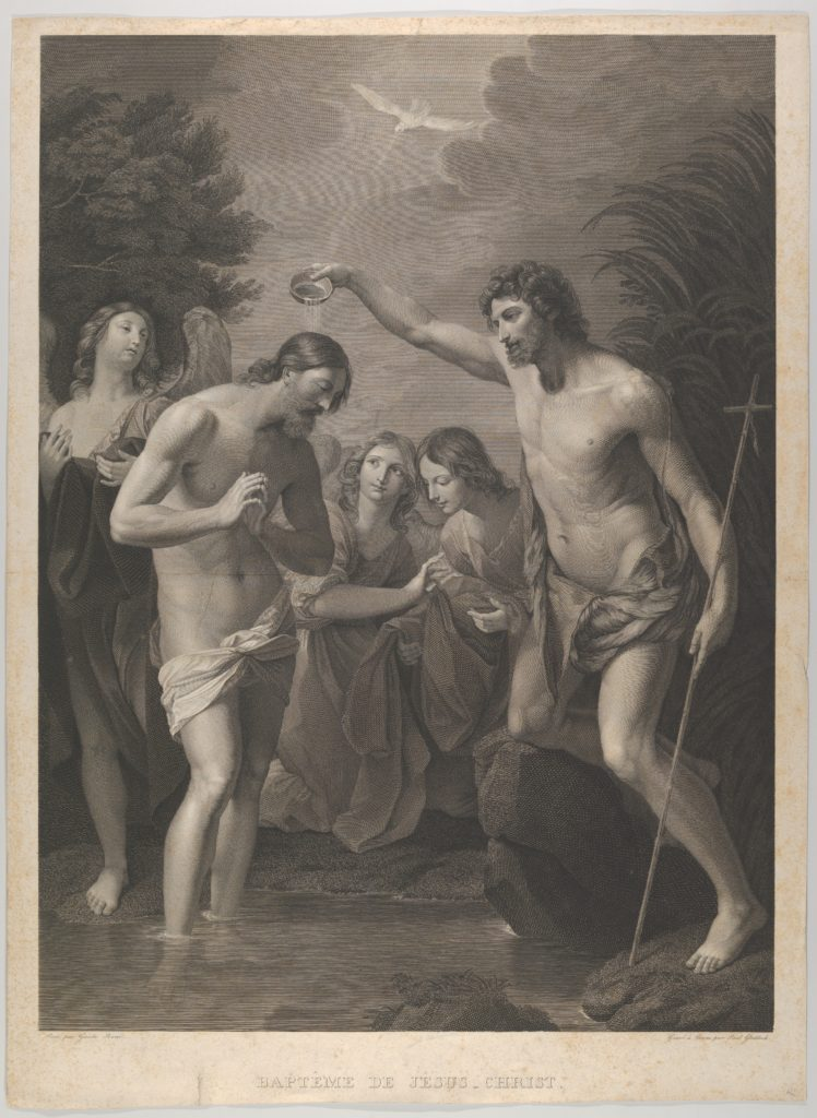The Baptism of Christ; Saint John at right and Christ at left with his hands held together, the Holy Dove above, angels in the background, after Reni